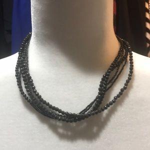 Black Muti-String Beaded Necklace